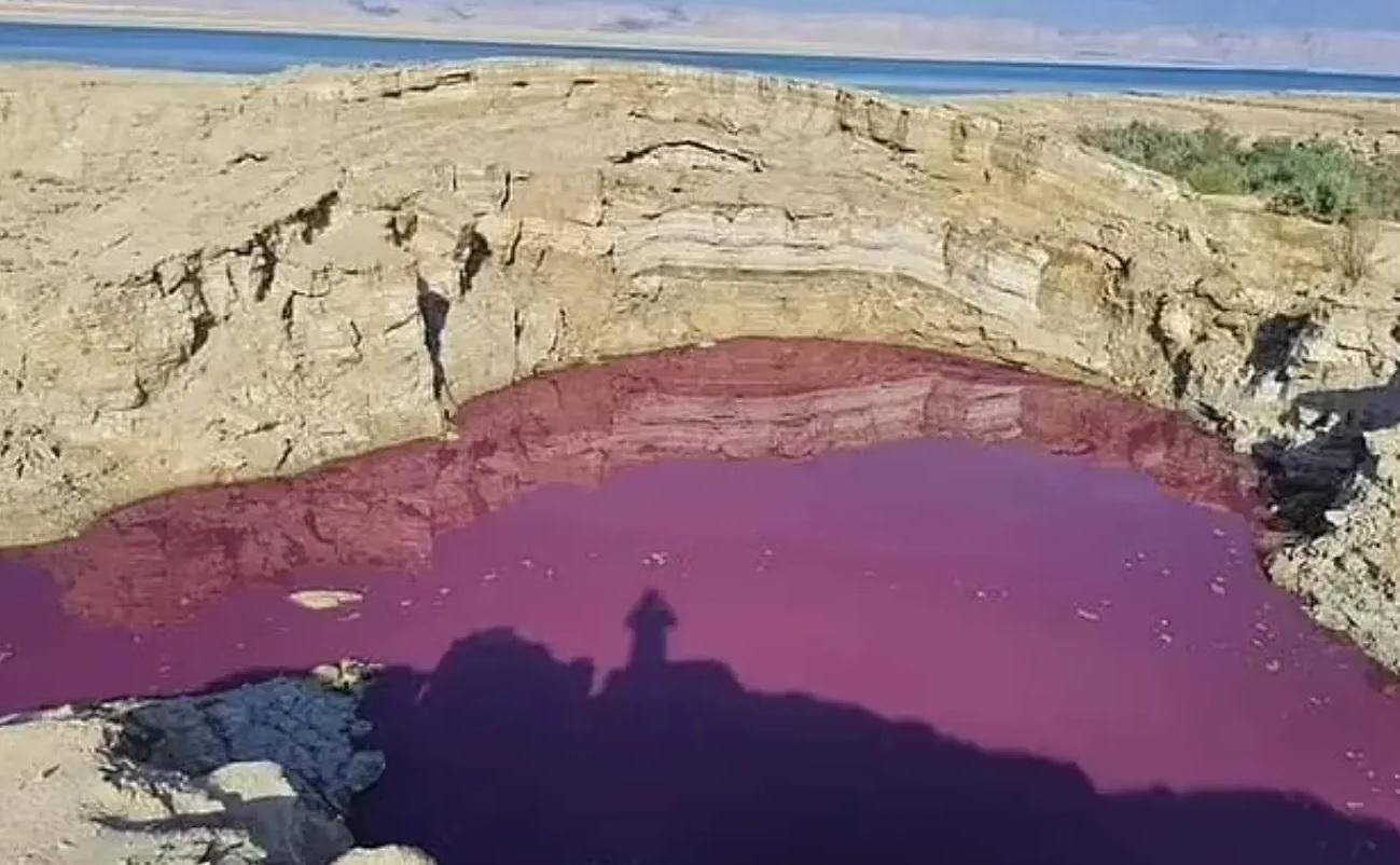 В Иордании внезапно окрасилась вода в озере: изображения вызвали фурор в соцсетях (ФОТО) - фото 2