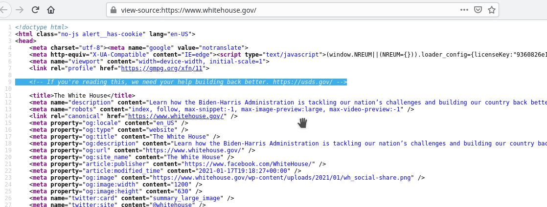 Байден позвал на работу разработчиков, разместив объявление на коде сайта Белого дома - фото 2